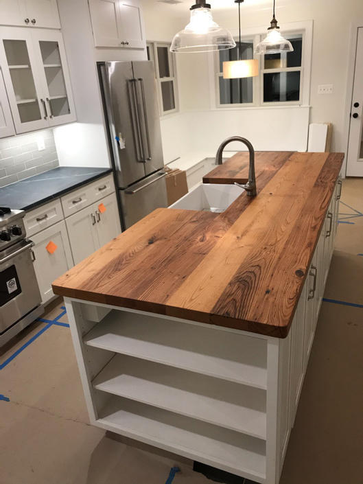 FREE SHIPPING - Custom Reclaimed Wormy Chestnut Countertops for 55 dollars a sq ft by StrongOaksWoodshop