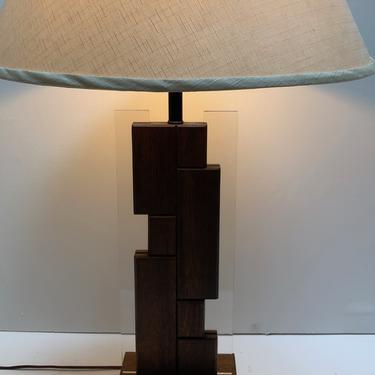 Acrylic and Walnut Table Lamp