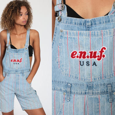 Bib Overalls 90s Denim STRIPED Shorts Jeans Shortalls Women ENUF Grunge 1990s Blue Red Streetwear Utility Vintage Small by ShopExile