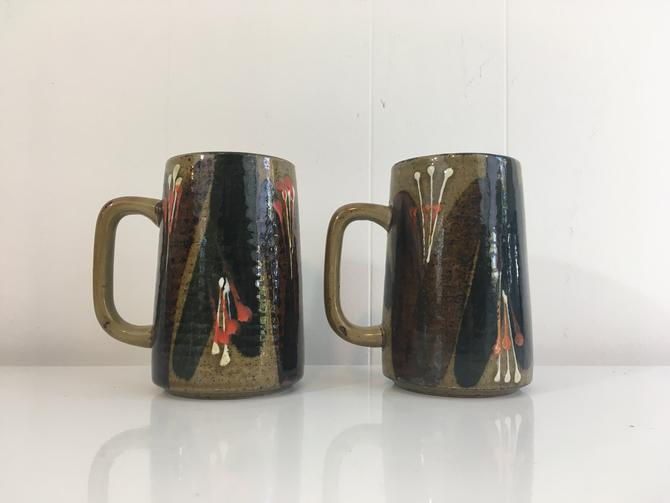 Vintage Speckled Stoneware Glazed Pottery Mugs 1970s Green Brown Boho Power Style Mid Century Modern Set of Two Naturally Rustic Retro by CheckEngineVintage