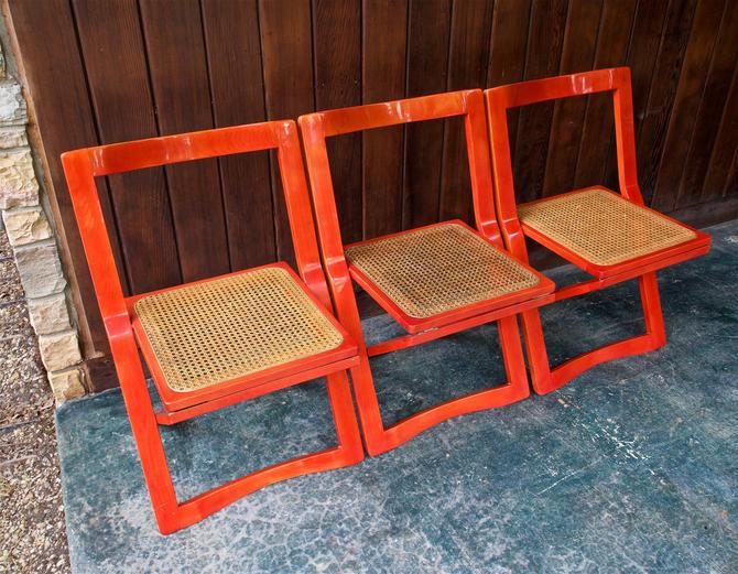 3 Italian Red Bentwood Cane Folding Chairs Vintage Mid-Century Modern Glam Hollywood Regency Stendig Italy Gio Ponti Sottsass by BrainWashington