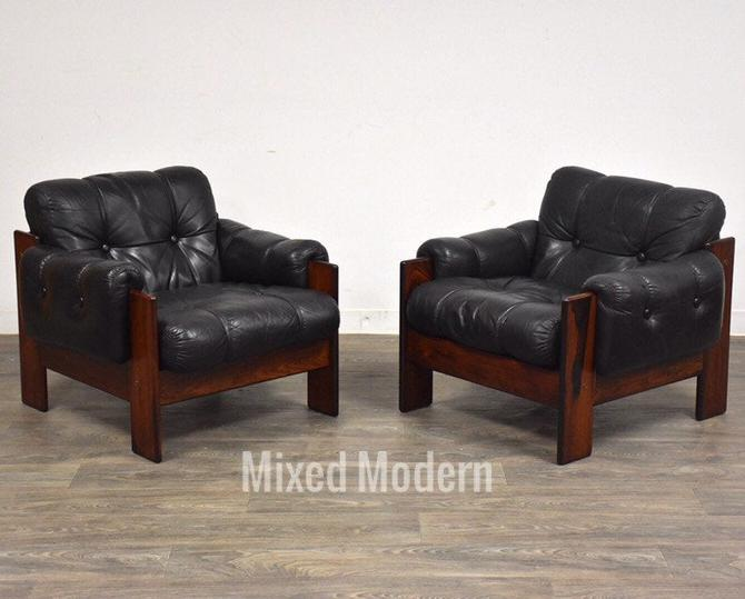 Rosewood & Leather Finish Lounge Chairs- a Pair by mixedmodern1