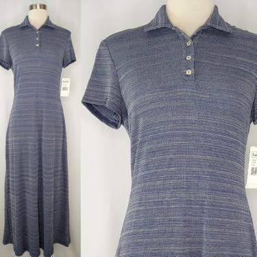 Vintage Y2K Blue Short Sleeve Polo Maxi Dress - NOS Tags 2000 Ronni Nicole Small Maxi Sheath Dress by JanetandJaneVintage