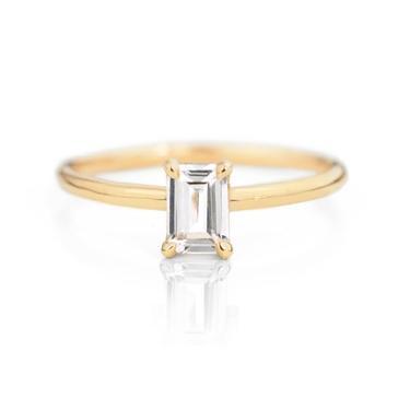 Emerald Cut White Sapphire Ring