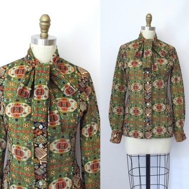 WAYNE ROGERS  Vintage 70s Marrakesh Moroccan Print Blouse | 1970s Turkish Print Semi Sheer Shirt Top w/ Pussy Bow Neck Tie | Sz Small Medium by lovestreetsf