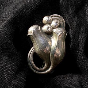 Vintage Georg Jensen Double Tulip Brooch in Sterling Silver by BellewoodDesignGoods