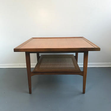 Drexel Declaration by Kipp Stewart Square Side or Coffee Table with Cane Rack by TheModernistUS