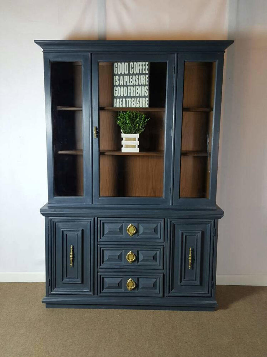 Blue China Cabinet Hand Painted With Chalk Paint By