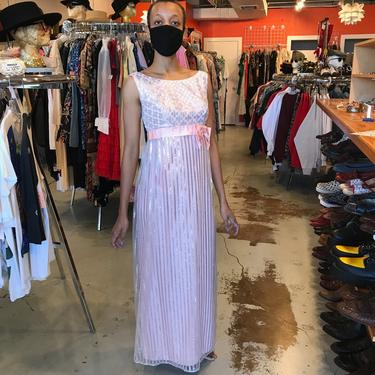 1960s Shimmer Pink and Silver Empire Waist Gown