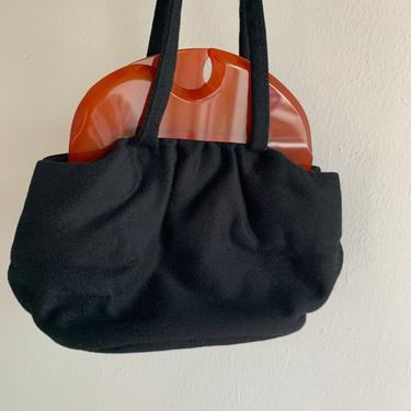 Chic 1940's wool felt and bakelite handbag with unique sculptural closure by AmalgamatedShop