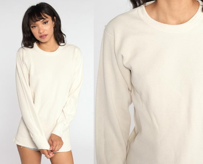 Cream Thermal Shirt Long Underwear Long Sleeve Shirt WAFFLE KNIT Shirt 80s Under Shirt T Shirt Underwear Retro Tee Vintage Tall Large by ShopExile