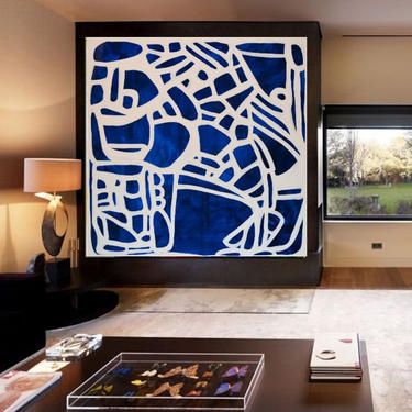 Custom Order for Ewelden Only - Today Only - Sale-Blue & White LARGE Canvas Painting ArtbyDinaD by ArtbyDinaD