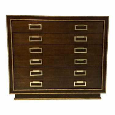 Currey and Company Modern Walnut Finished Wood and Brass Metal Benedict Map Chest of Drawers
