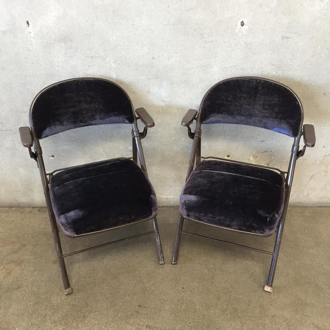 Pair of Vintage Velvet Cinema Folding Chairs