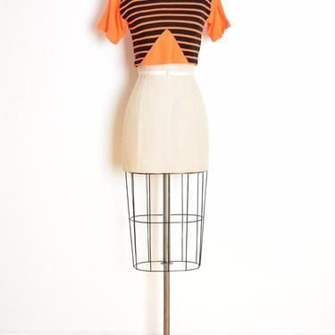 vintage 80s crop top black neon orange striped tee t-shirt new wave XS clothing by huncamuncavintage