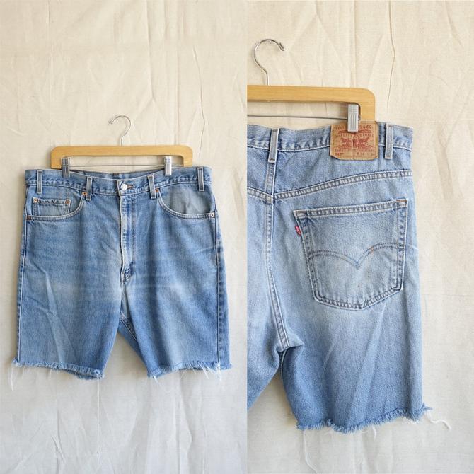 Vintage Levi 517 Cut Off Shorts/ Light Wash Distressed Denim Shorts/ Mens size 38 by bottleofbread
