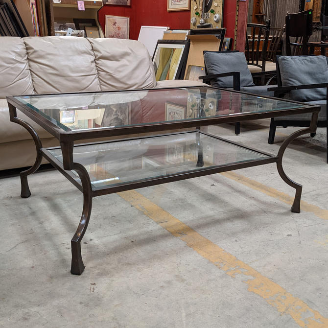 Two Tier Glass and Metal Coffee Table by Raymour & Flanigan