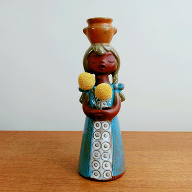 Vintage UCTCI Girl Candleholder Vase | Singing Choir Girl | Braids | Stoneware Art Pottery | Japan by TheFeatheredCurator