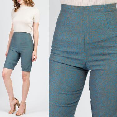 "60s Jacquard Bermuda Shorts - Extra Small, 25"" | Vintage High Waisted Blue Shorts by FlyingAppleVintage"