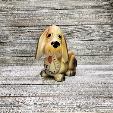 Vintage Dog Planter, Get Well Soon Sick Ceramic Dog, Dog Lover Gift, Basset Hound w/ Thermometer, Mid Century Modern, Vintage Home Decor by AGoGoVintage