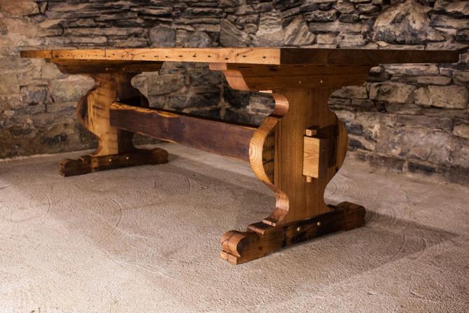 The Schwarzwald - Bavarian Style Reclaimed Oak Tavern Trestle Table by BarnWoodFurniture