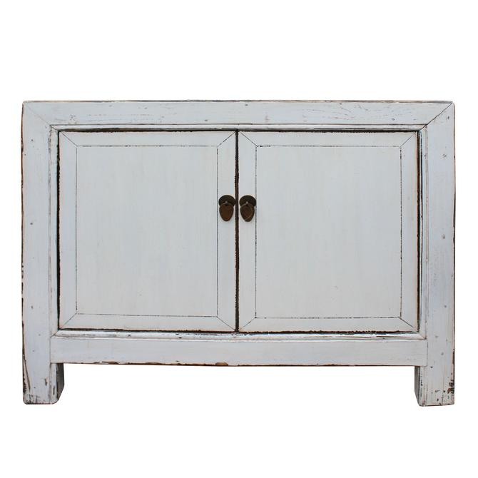 Oriental Simple Distressed Off White Credenza Sideboard Table Cabinet cs5020S