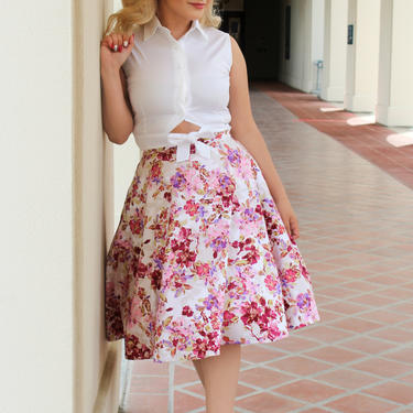 Floral Circle Skirt With Pockets - Pink Flower Pattern by VintageGaleria