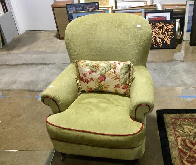 Green armchair available at Habitat for Humanity Restore Rockville for $175