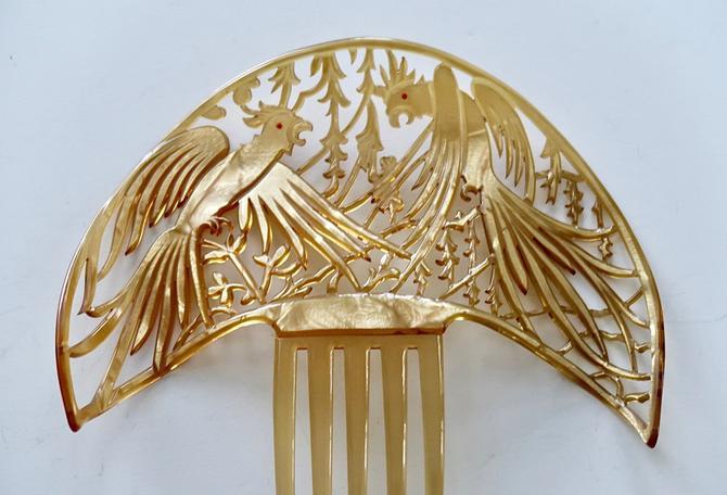 Large Art Deco Figural Parrots Hair Comb, Celluloid Comb, Cockatoos Comb, Hair Decoration by CombAgain