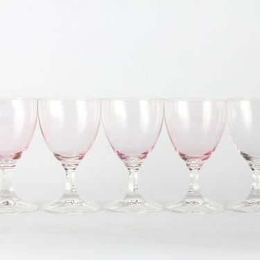 Vintage Pink Wine Glassware, Wedding Decor, Vintage Glassware, Wine Glassware, Pink Stemmed Wine Glasses, Pink Glasses, Set of 5 by 1882BlueVintage