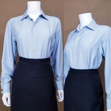 Vintage 70s Blue Silk Blouse ~ Brooks Brothers ~ Pastel Blue Button Up Dress Shirt ~ Cufflink Sleeves ~ Long Sleeve Menswear Top MEDIUM by SoughtClothier