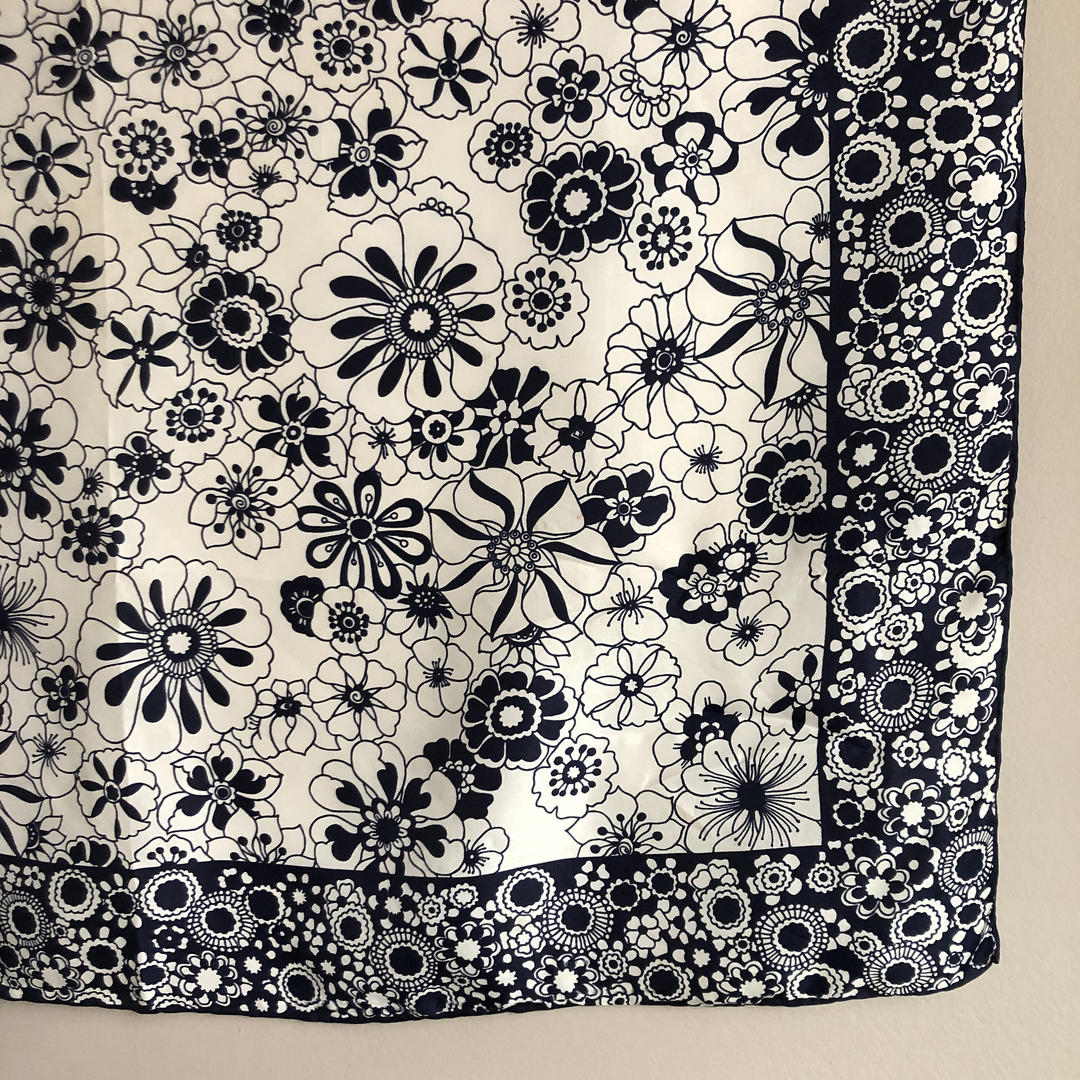 Vintage Blue and White Floral Scarf, mod flower power scarf in silk and  rayon from Sally Gee, japanese silk scarf by ShopTheHyphenate from The