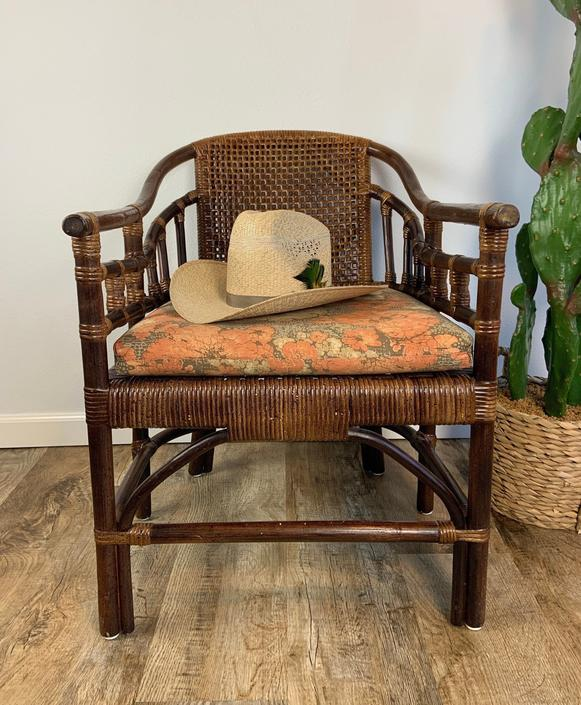 Vintage Mid Century Bent Rattan and Cane Arm Chair by DesertCactusVintage