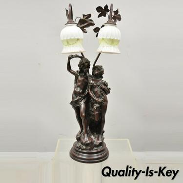 Victorian Art Nouveau French Twin Figural Male & Female Metal Parlor Table Lamp