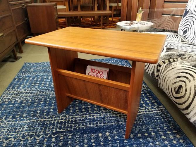 Danish Modern teak side table with magazine holder