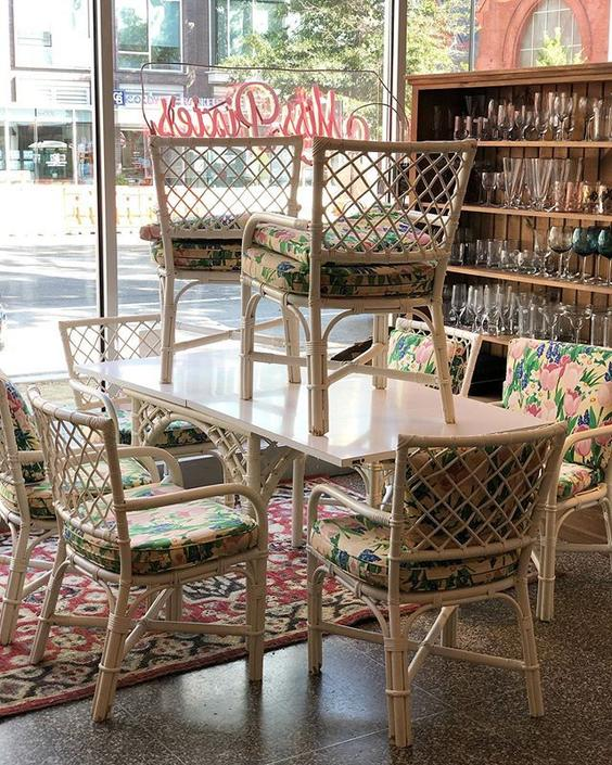 Gorgeous Extendable Rattan Table and Chairs - 8 available!