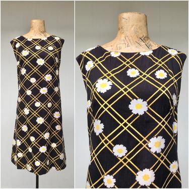 "Vintage 1960s Cotton Daisy Print Dress, 60s Black Floral Shift, Mid-Century Summer Flower Power Sheath, Medium 38"" Bust by RanchQueenVintage"