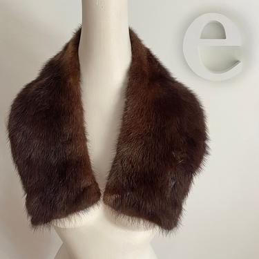Vintage 50s 60s Genuine Mink Fur Collar • Dark Brown • Rockabilly Pin Up • Great for Cardigan Sweater or Coat by elliemayhems