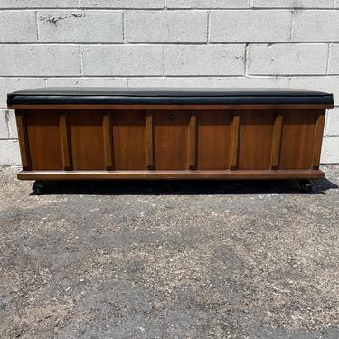Mid Century Modern Lane Chest Storage Coffee Wood Table Bench Trunk Hope Chest Cushion Eames Living Room Midcentury Entry Way Foot of Bed by DejaVuDecors