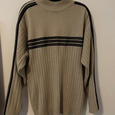 3) vintage beige tan and brown sweater with racer stripes by GRACEandCATS