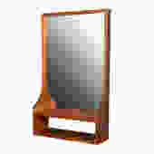 Danish Modern Teak Wall Mirror w/ Cubby Storage