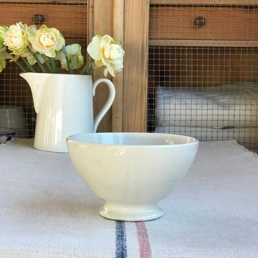 Beautiful vintage French white ironstone cafe au  lait bowl- WB1 by Grainsacfrenchvintag