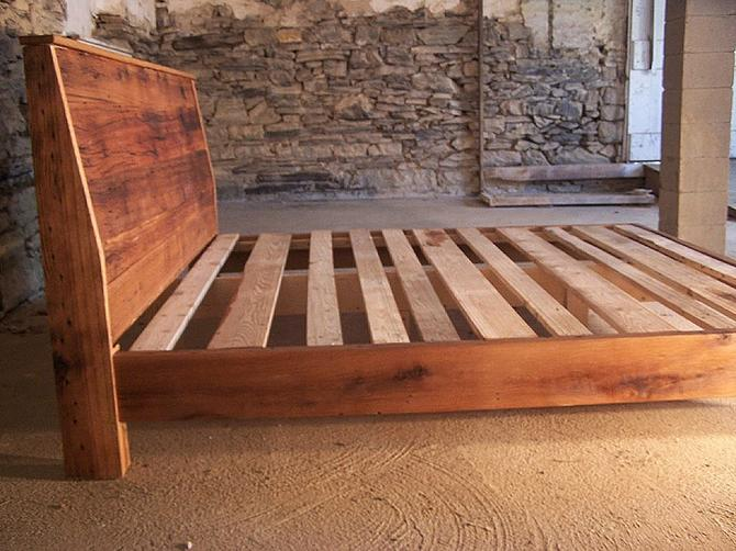 Modern Style Bed Frame With Slanted Headboard From Reclaimed Wood by BarnWoodFurniture
