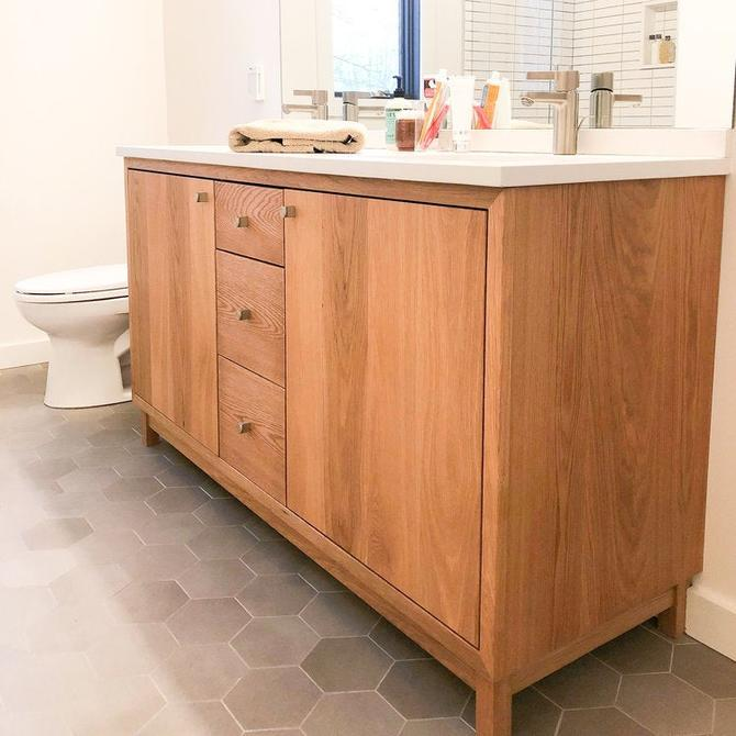 "60"" Solid Wood Double Sink Vanity / Modern Vanity Console by wwmake"