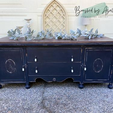 Refinished low buffet / tv stand / entertainment center / bed bench / entryway storage Jacobean Shabby chic / farmhouse / rustic style black by RelovedFurnitureStor