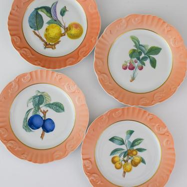 Set of 4 Vintage Mottahedeh Summer Fruit Pattern Dessert or Appetizer Plates by CapitolVintageCharm
