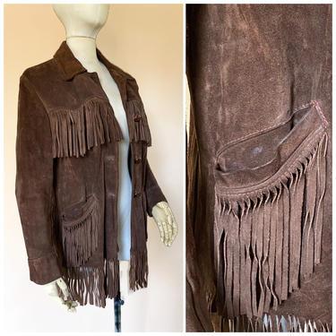 Vtg 60s Brown Suede Fringe Southwestern Jacket / Leather Fringe Cowboy Coat by AmericanDrifter