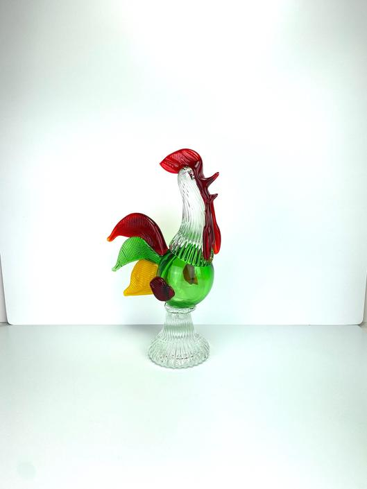 Vintage Murano Art Glass Rooster Sculpture Figure Green Red Yellow Italy by HouseofVintageOnline