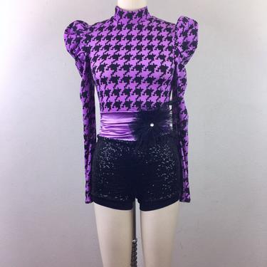 Vintage Houndstooth Sequin Dance Costume Unitard Onesie Bike Short Ballet Skating Puff Sleeve Purple Black S by FlashbackATX