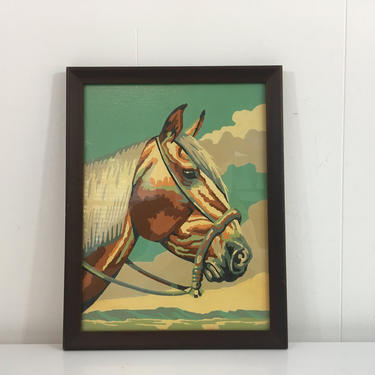 Vintage Framed Horse Paint By Number Original Painting Art Gray Green Brown Wood Frame Painted Amateur Artist Painter Equestrian Decor by CheckEngineVintage